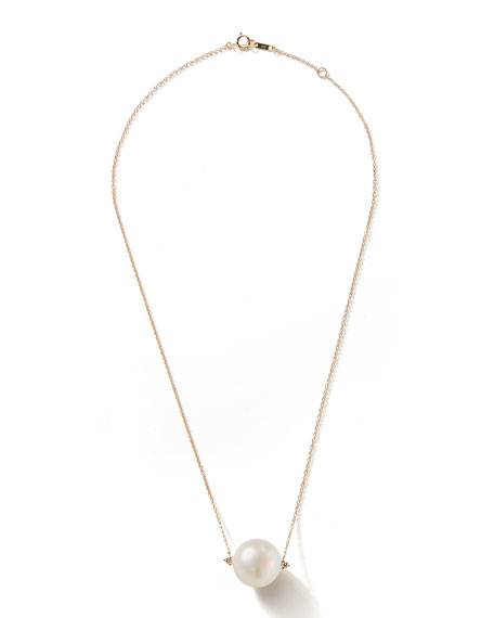 14k Large Pearl & Diamond Necklace