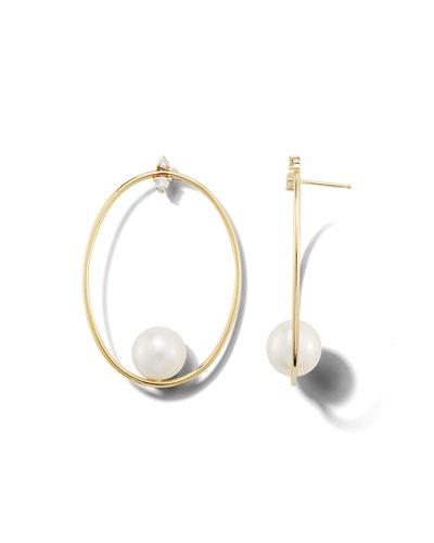 14k Gold Large Oval & Pearl Drop Earrings