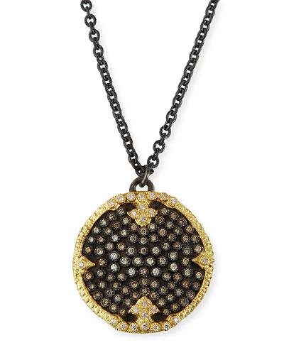 Old World Diamond Pave Disc Pendant Necklace