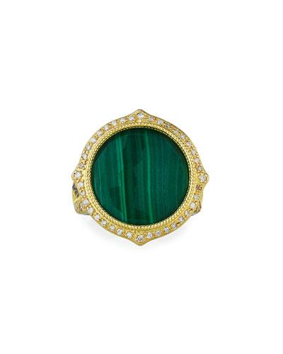 Old World Malachite/Sky Blue Topaz Doublet Diamond-Pave Ring, Size 6.5-7