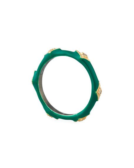Cuento Enamel Diamond Crivelli Ring, Size 6.5