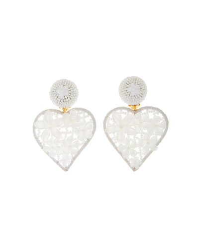 Embellished Heart Clip Earrings