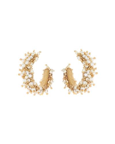 Small Bead Cluster Hoop Earrings