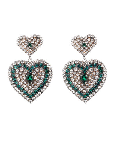 Amo Crystal Heart Earrings