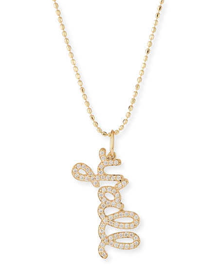 Image 1 of 1: 14k Diamond Y'all Pendant Necklace
