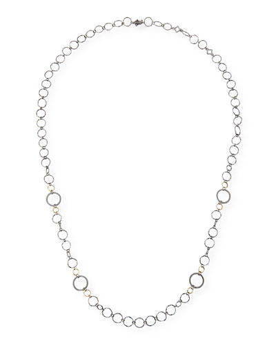 Old World Long Alternating Circle-Link Necklace