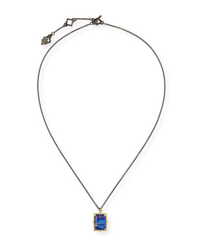 Old World Lapis/Blue Moonstone Rectangular Pendant Necklace