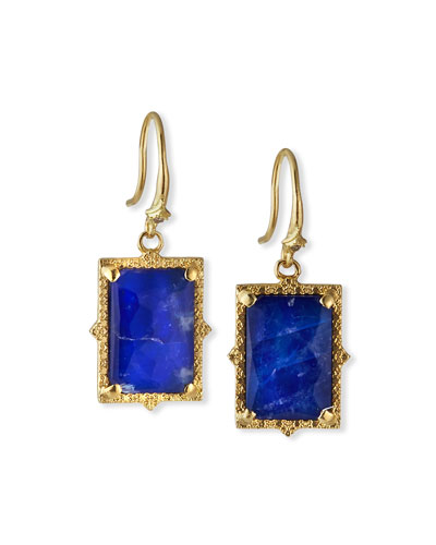 Old World Lapis/Blue Moonstone Rectangular Drop Earrings w/ Diamonds