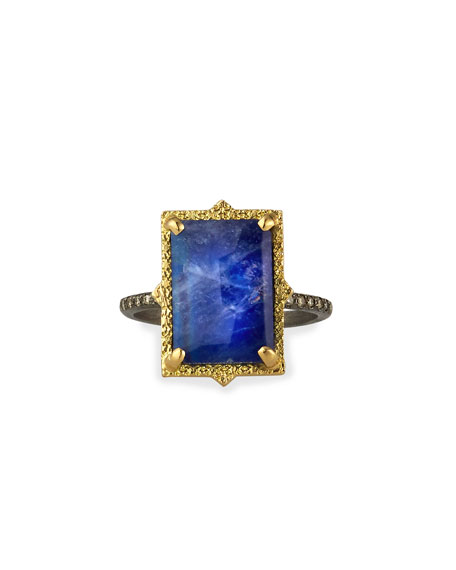 Old World Lapis/Blue Moonstone Rectangular Ring w/ Diamonds, Size 6.5