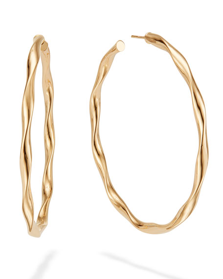 14k Wide Wave Twist Hoop Earrings, 70mm