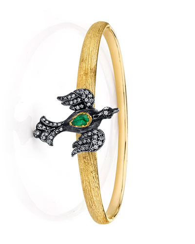 Diamond Bird Bracelet w/ Emerald