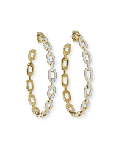 Carmine Enamel Medium Hoop Earrings
