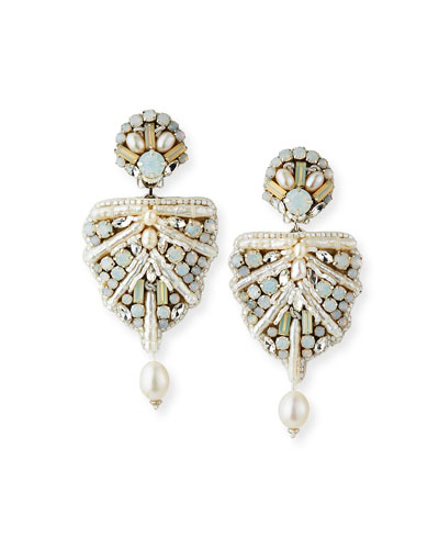 Naomi Mixed-Pearl Clip Earrings