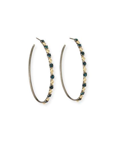 Old World Tourmaline and Diamond Hoop Earrings