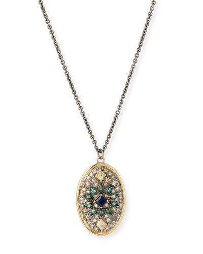 Old World Diamond Pave Oval Necklace