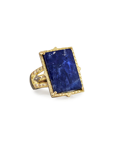 Rectangular Lapis Ring w/ Diamonds, Size 7