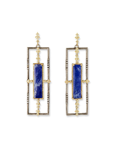 Open Lapis Rectangle-Drop Earrings