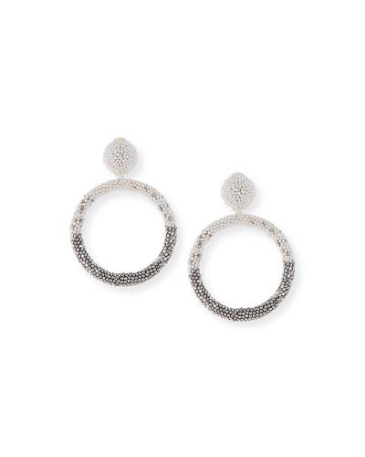 Beaded Hoop-Drop Earrings  White/Silver