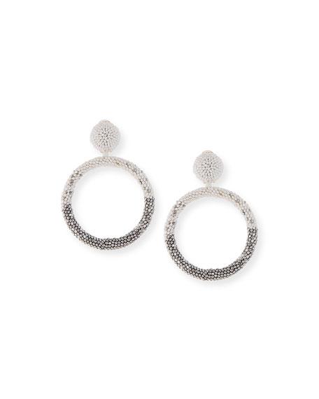 Beaded Hoop-Drop Earrings, White/Silver