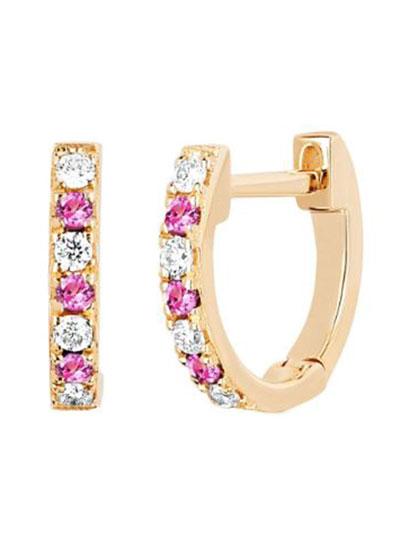 14k Rose Gold Diamond and Pink Sapphire Huggie Earring  Single