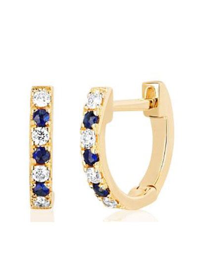 14k Gold Diamond and Blue Sapphire Huggie Earring  Single