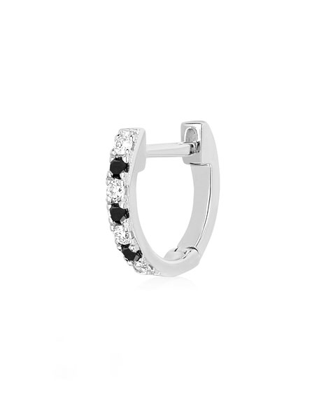 14k White Gold Black and White Diamond Huggie Earring, Single