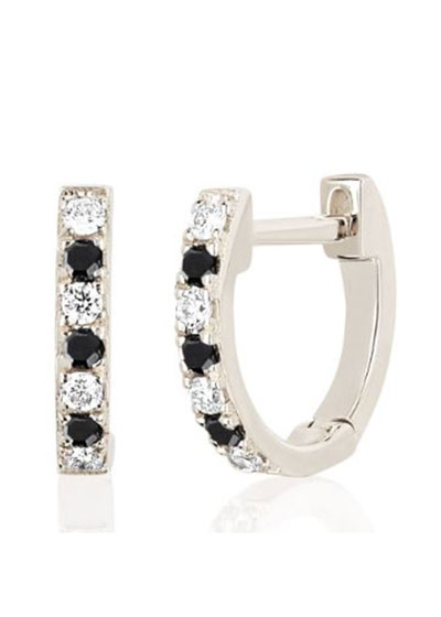 14k White Gold Black and White Diamond Huggie Earring  Single