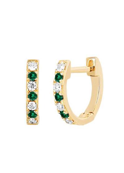 14k Rose Gold Diamond and Tsavorite Huggie Earring  Single