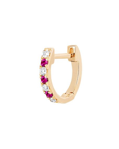 14k Rose Gold Diamond and Ruby Huggie Earring, Single