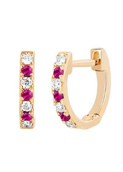 14k Rose Gold Diamond and Ruby Huggie Earring  Single