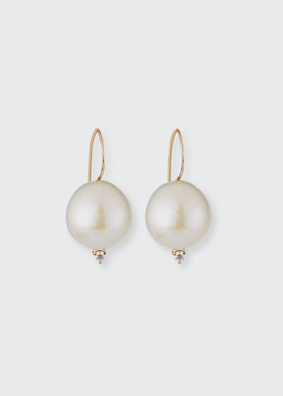 Sea of Beauty 18k Large Pearl and Diamond Wire Earrings