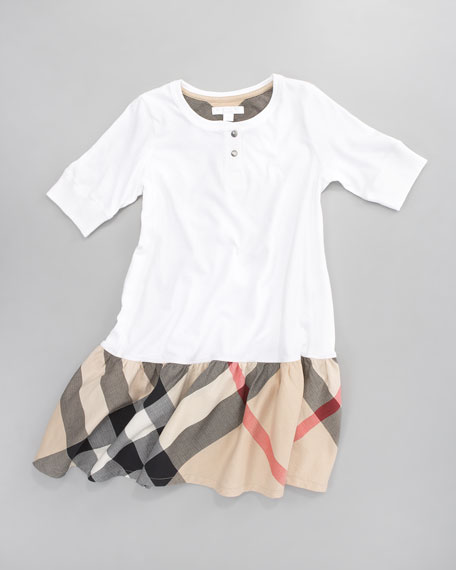 Henley Check-Skirt Dress, White