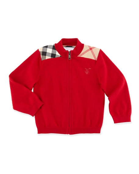 Zip-Front Sweater, Military Red