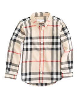 Long Sleeve Patch Pocket Check Shirt, Sizes 4Y-14Y