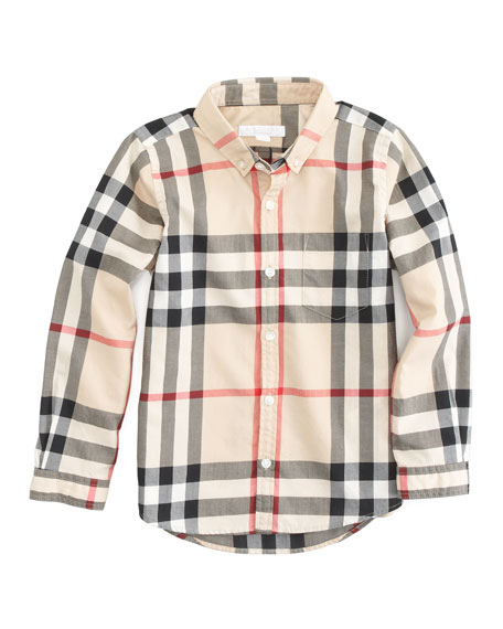 aa0eeebd Burberry Long Sleeve Patch Pocket Check Shirt, Sizes 4Y-14Y