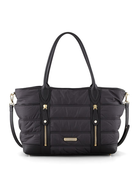 Nylon Double-Zip Diaper Tote Bag, Black