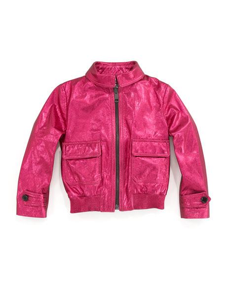 Metallic Leather Bomber Jacket, Fuchsia