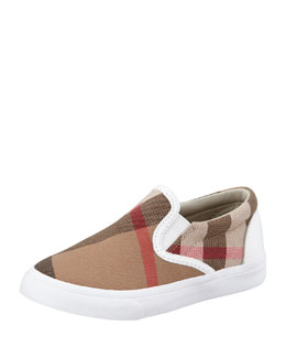 White Check Slip-On Sneaker, Toddler Sizes