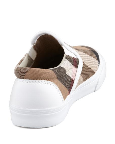 White Check Slip-On Sneaker, Kids Sizes