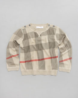 Burberry Button-Shoulder Check Sweater
