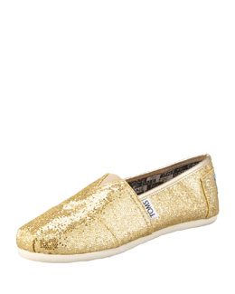 TOMS Gold Glitter Shoe, Youth