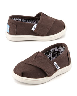 TOMS Classic Canvas Slip-On, Chocolate, Tiny