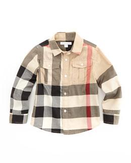 Boys' Check Military Shirt, New Classic, 4Y-10Y