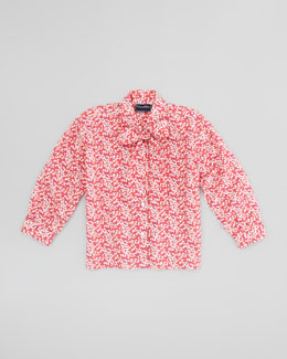 Oscar de la Renta Girls' Multi-Use Floral-Print Blouse, Hot Pink, 4Y-10Y