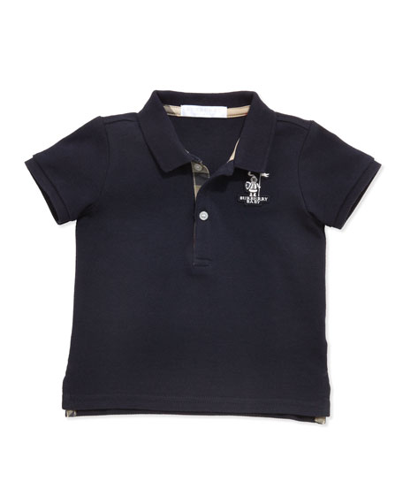 Palmer Infant Boys' Check-Trim Polo, Navy, 6-18 Months