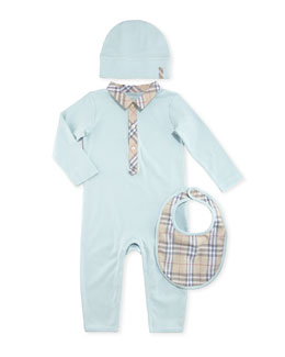 Boxed Playsuit, Hat & Bib Set, Light Blue, 1-18 Months