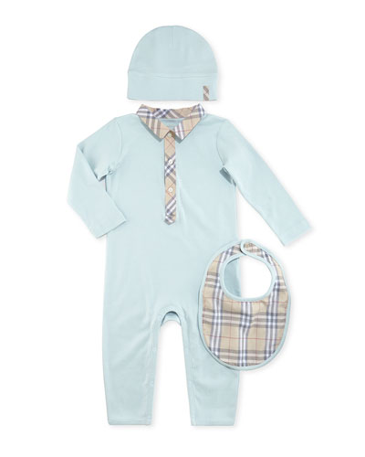 Carina Boxed Playsuit, Hat & Bib Set, Light Blue, 1-18 Months