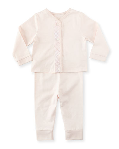 Pomme Check-Trim Knit Pajamas, Pink,  3-18 Months