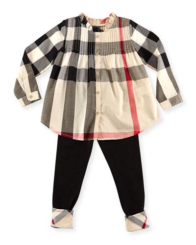 Bretta Check Pintuck Long-Sleeve Shirt, Taupe, Girls' 6Y