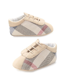 Check Newborn Boys' Shoes, Stone